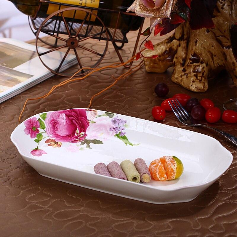 Plaque en céramique de plat de porcelaine d'os de rectangle de 30 cm de ménage