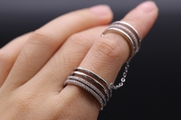 GZJY Fashion Retro AAA Cubic Zirconia White Gold Color Double loop Connect Two Ring For Women