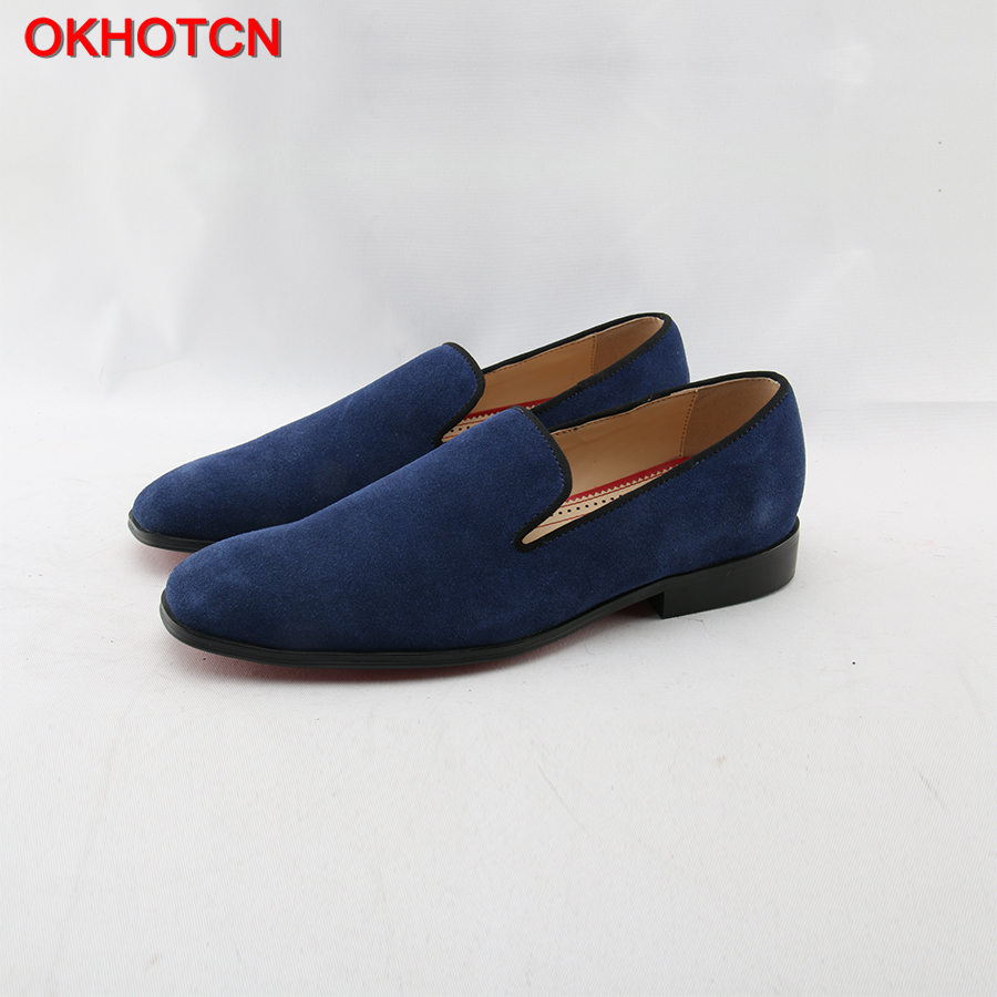 OKHOTCN Suede Loafers ritish Style Fashion Suede PU Leather Men Loafers Slip on Men Driving Shoes