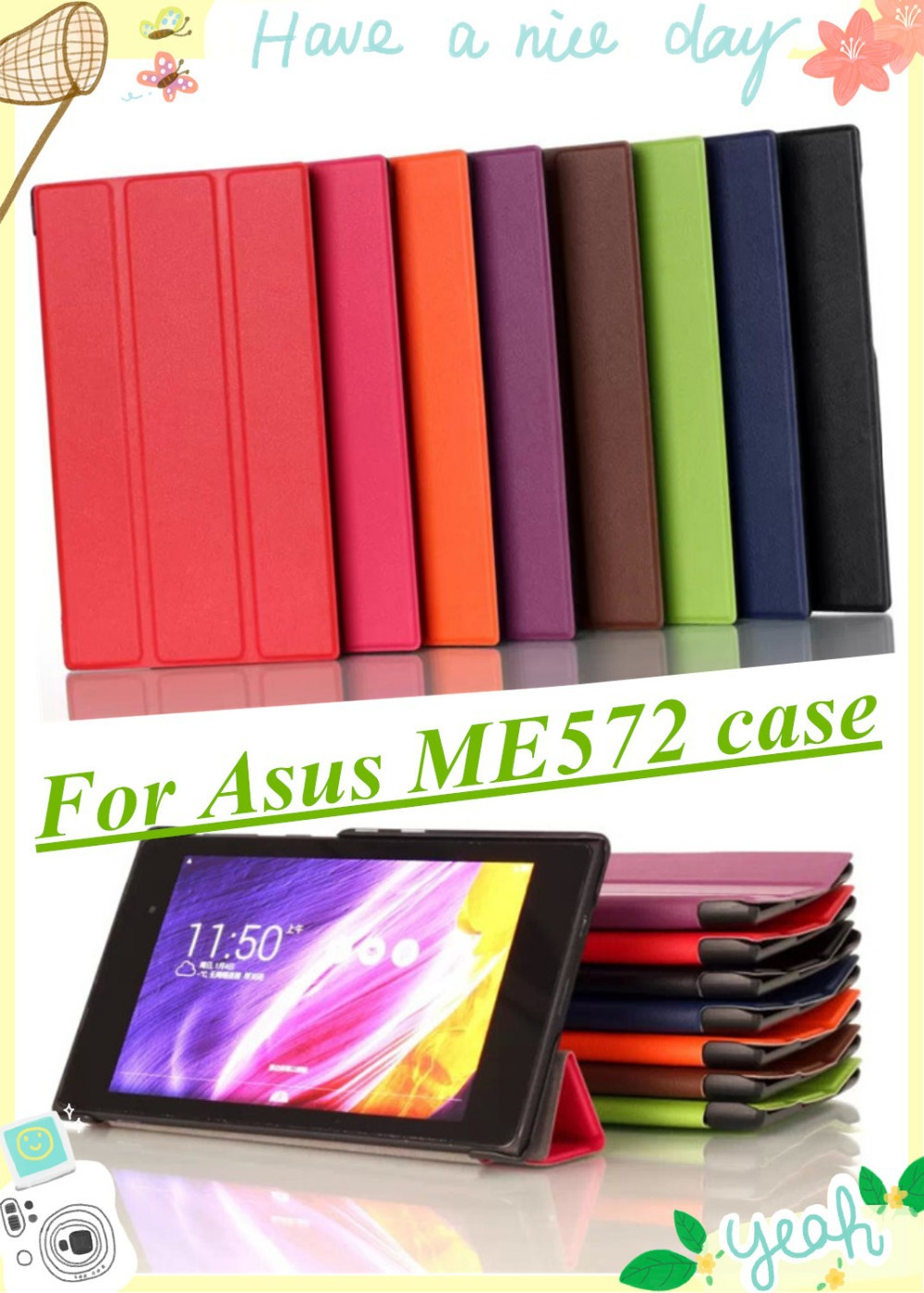 High Quality Magnetic Smart Stand Case For ASUS MeMO Pad 7 ME572C ME572CL ME572 tablet cover case With Screen Protector & Stylus new 7 inch case for asus memo pad 7 me572cl me572 lcd display digitizer touch screen with frame free shipping