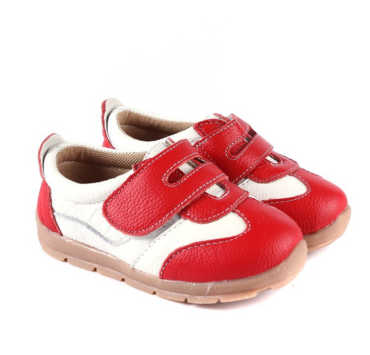 SandQ baby Boys sneakers soccers shoes girls sneakers Children leather shoes pink red black navy genuine leather flexible sole 11