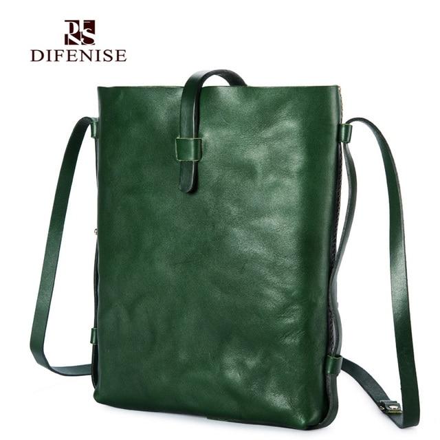 Difenise Brand Luxury Vegetable tanned cowhide leather Handmade Women bags Women Vintage Slid Casual tote Handbags Shoulder bags