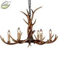 Creative 6 Heads Chandelier Candle Antler Wooden Lamp Resin Deer Horn Home Decoration Droplight Art Lighting