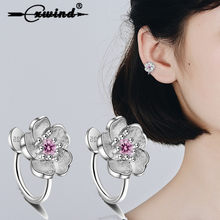 Cxwind Fashion CZ Cherry Blossom Clip Earrings For Women Zirconia Crystal Floral Clip-on Earrings No Hole for Girl Wedding(China)