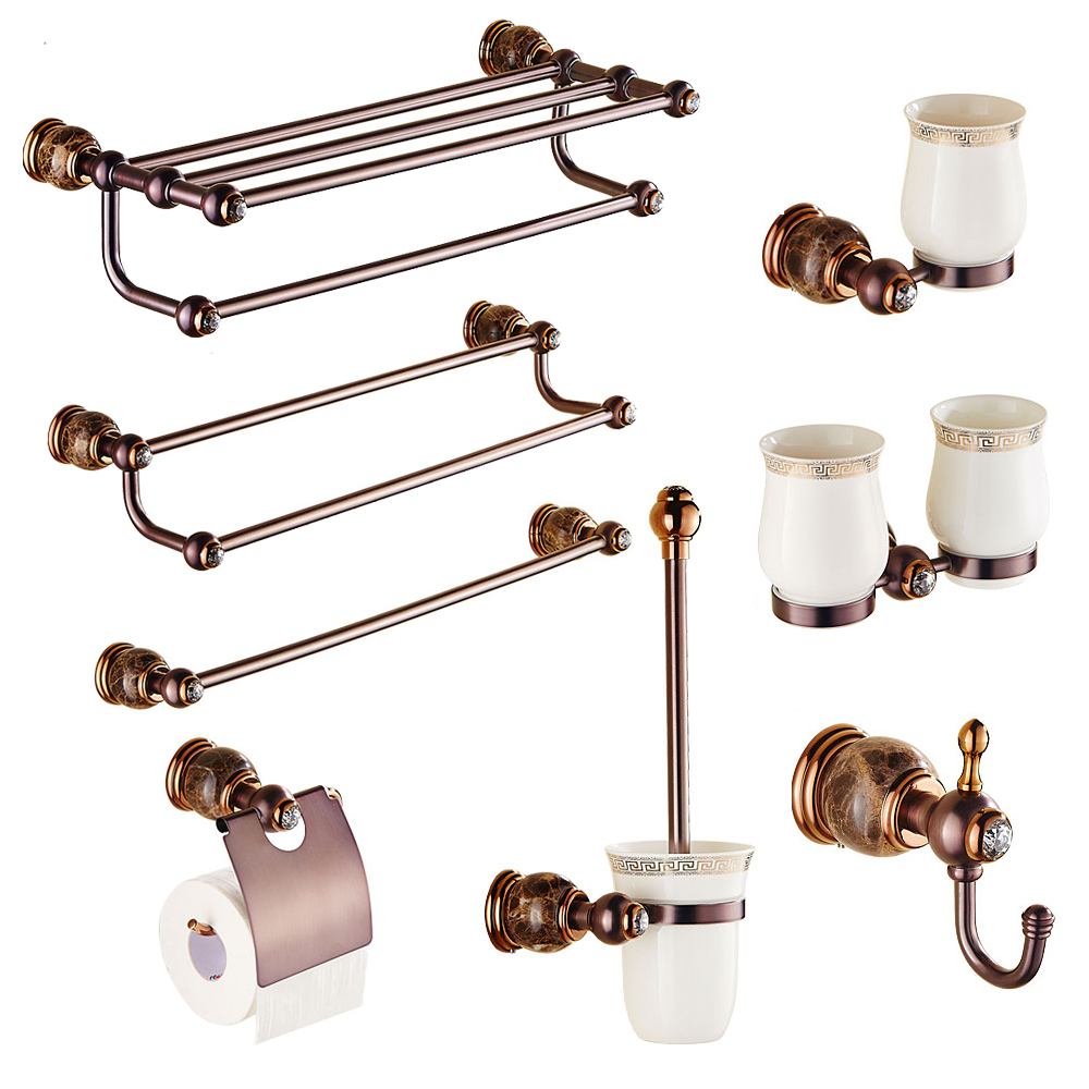 European antique Towel rack copper clothes hook rose gold single toothbrush cup bathroom hardware pendant set image