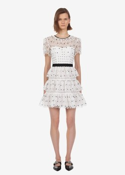 New arrival women's vintage high-waist dress Chic white polka dot mini dress Sexy hollow-out dress A401