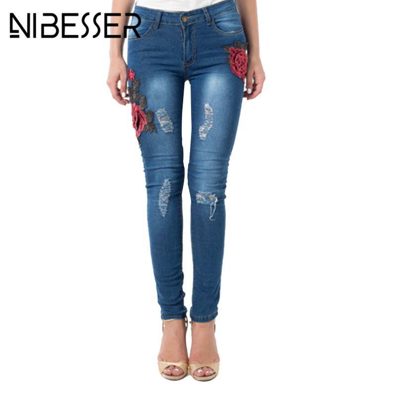 NIBESSER Women Jeans New 2017 Autumn Rose Embroidery Elastic Vintage Washed Ripped Hole Distressed Scratched Pencil Denim Pants autumn new fashion cotton jeans women loose low waist washed vintage big hole ripped long denim pencil pants casual girl pants