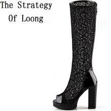 Толстый высокий каблук устойчивый каблук молния летние женские ботинки с высоким голенищем Cut Out колено открытым носком дышащая Леди Сапоги и ботинки SXQ0728