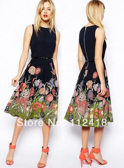 d073cd30cc09 Midi Skater Dress Floral Border Print Women Dresses 1473-in Dresses ...
