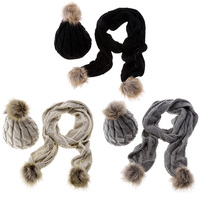 2 Pieces Set New Winter Hat And Scarves Wrap Winter Warm Women Fashion Knitted Scarfs And