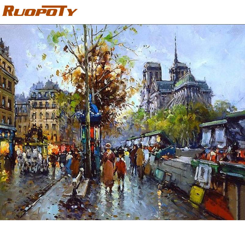 RUOPOTY Frame Street Landscape Diy Oil Painting by Numbers Abstract Handpainted Unique Gift For Living Room Wall Art նկար