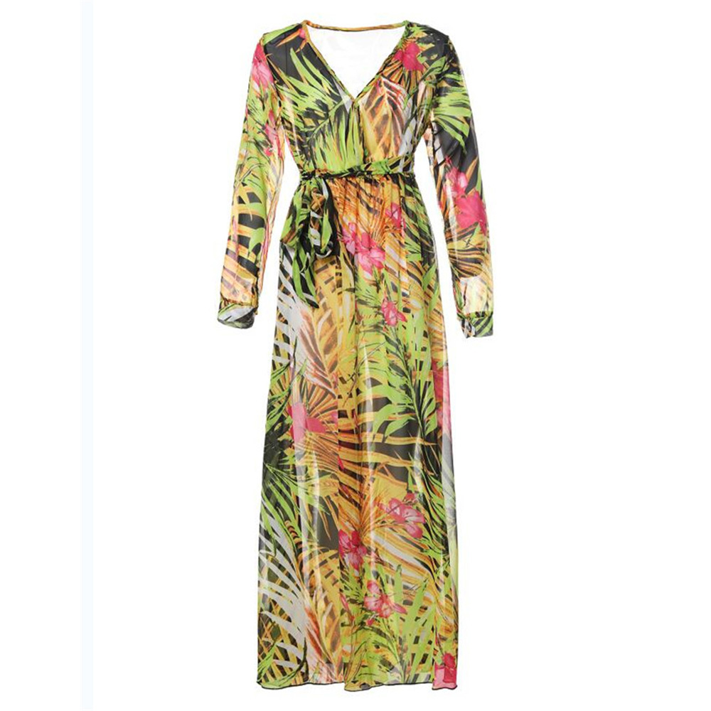 2018 New women maxi dress boho Tropical v neck lace up yellow print plus size dress summer dress beach casual holiday long dress