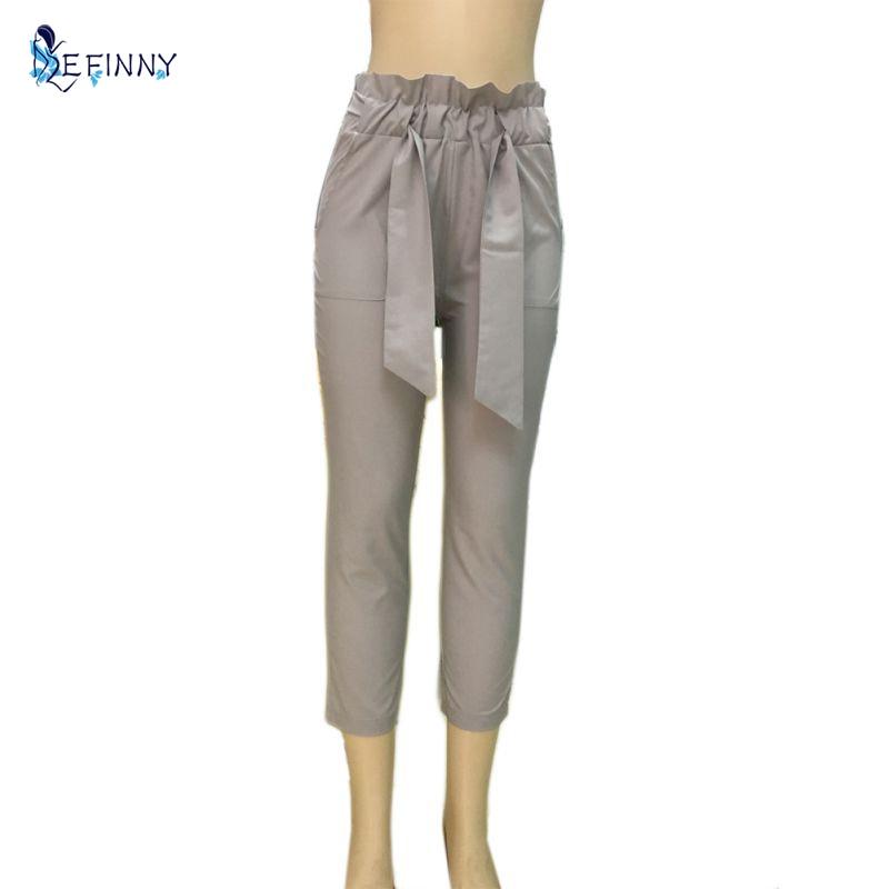 5bee5d02fd5b6 Mode Chffion Taille Haute Femmes Pantalon Avec Arc Élastique OL Solide  Crayon Pantalon