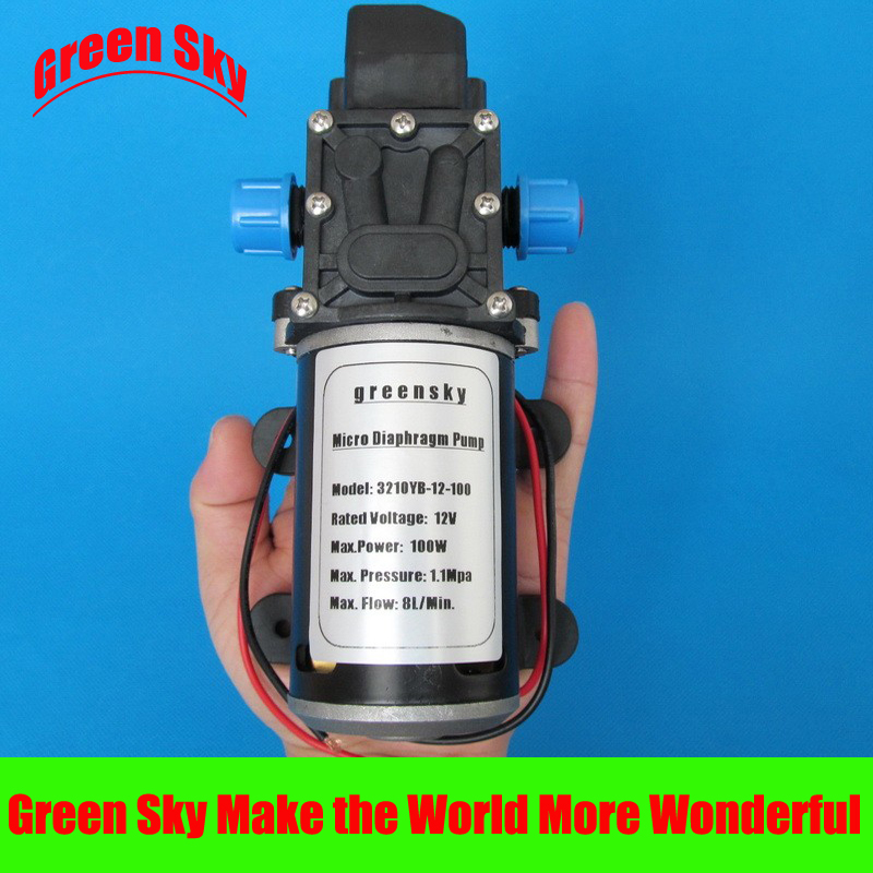 160PSI 8L/Min DC 100W car washing,medical,chemical equipment,lawn and garden irrigation use water diaphragm pump 12v