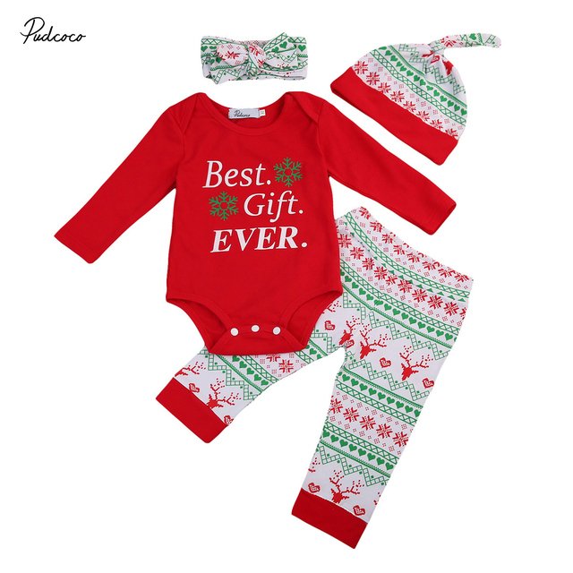 38121aafec02 Cute Newborn Baby Christmas Best Gift Ever Letter Printed One Piece ...