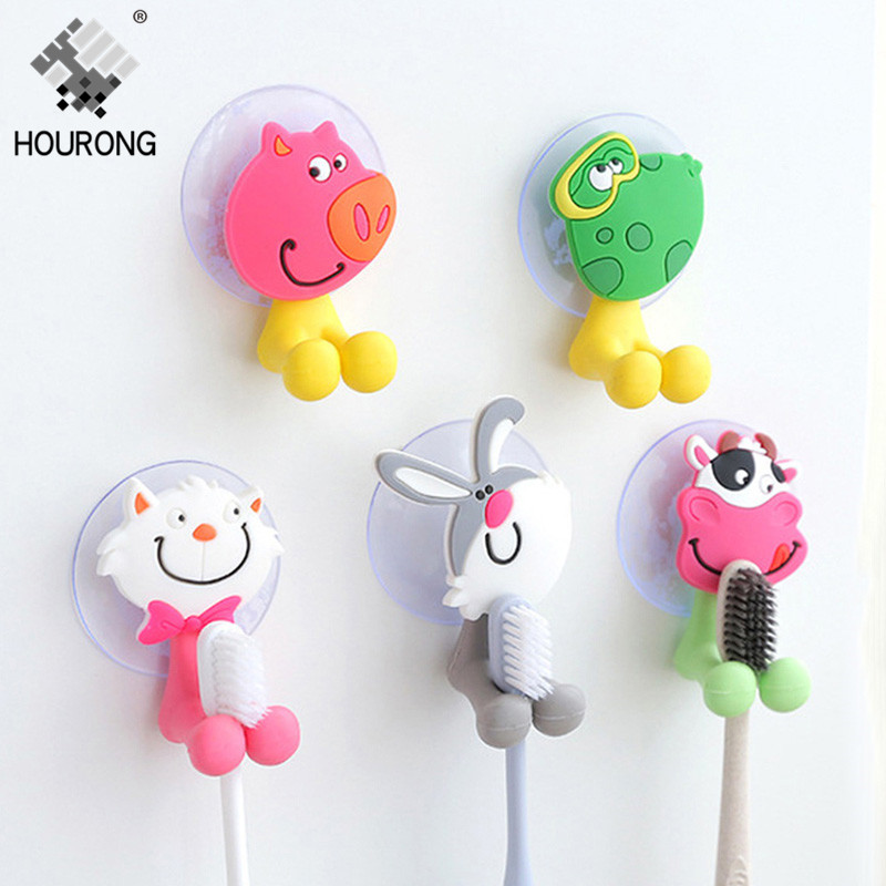 Hourong Suction Cup Toothbrush Holder Rack Creative Cartoon Animal Family Tooth Brush Organizer Holder Bathroom Accessories image