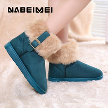 Warm fur winter shoes women waterproof snow boots fashion slip-on buckle martin boots faux suede rubber ankle boots