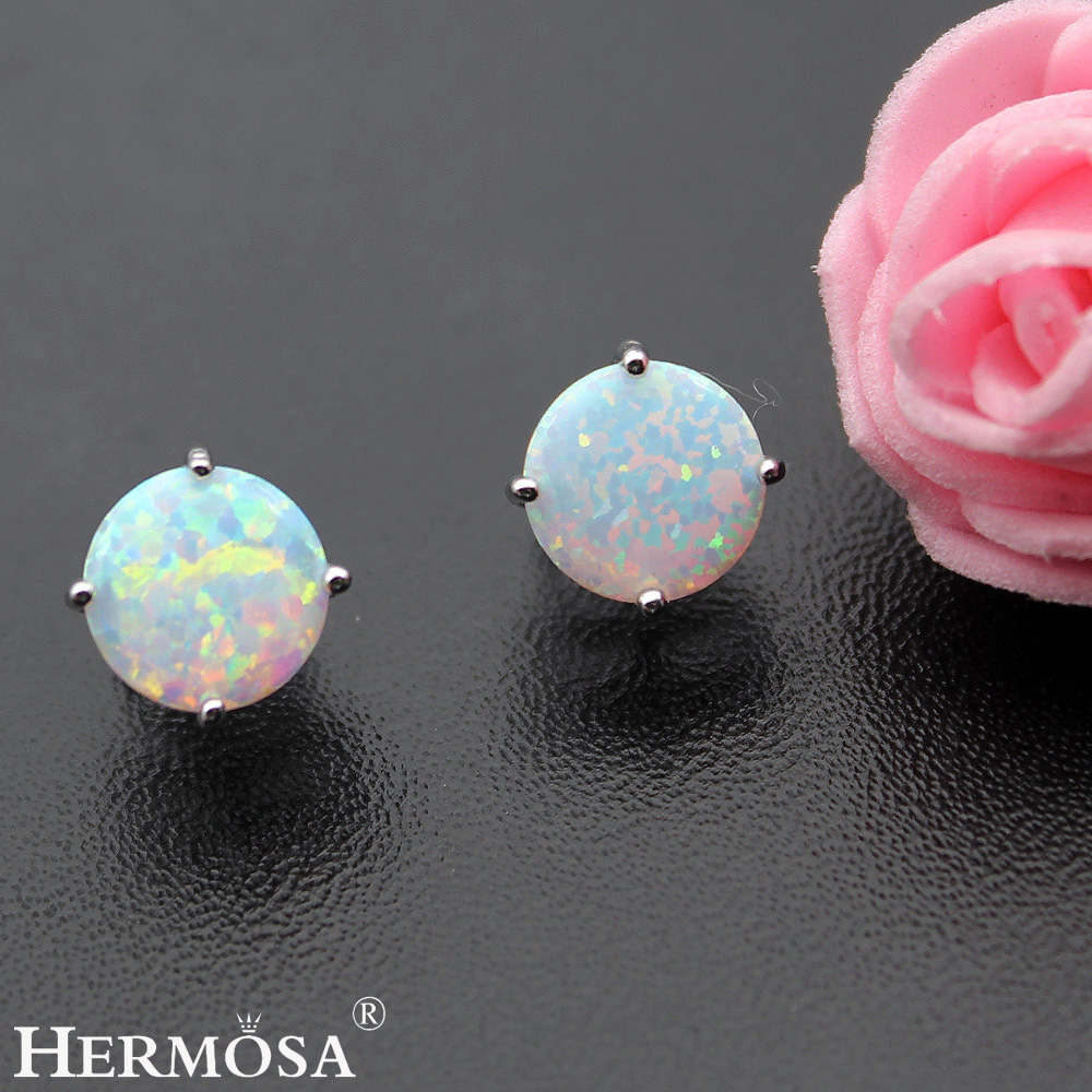 3 Colors Australian Opal Pretty Lady Gift 925 Sterling Silver Earrings For  Women Hermosa Round White