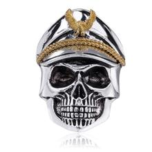 2019 Wholesale Mens Vintage Gothic Skull tainless Steel Fashion Military Ring For Christmas Party Gift