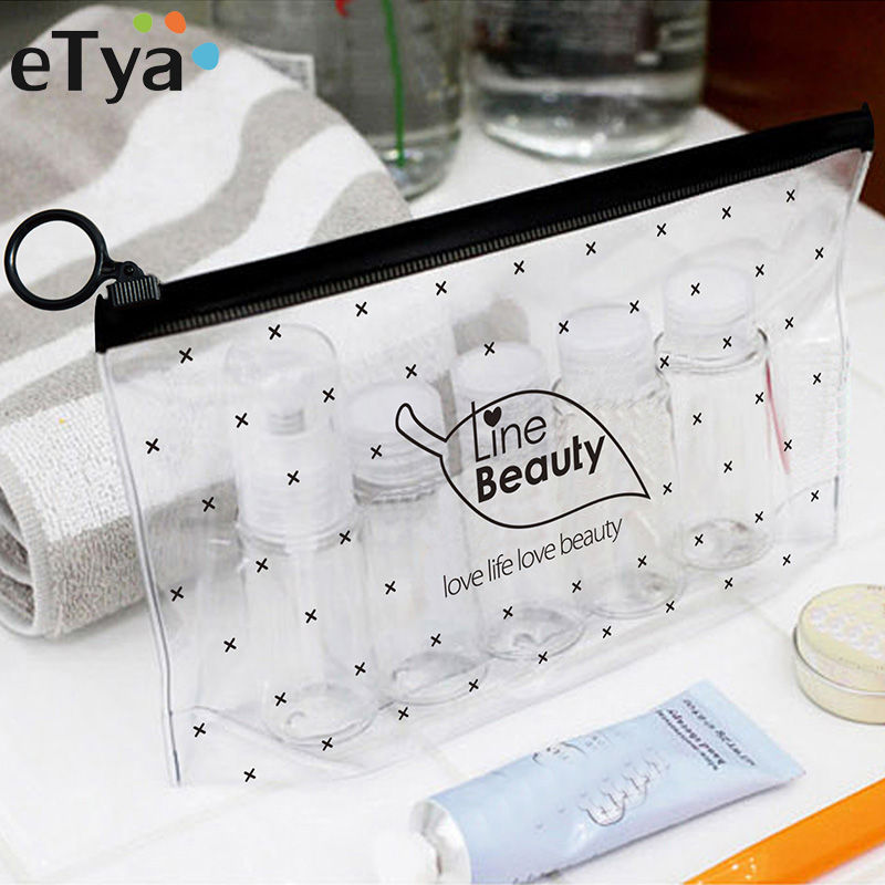 eTya Fashion Women Clear Cosmetic Bags PVC Transparent Toiletry Bags Travel Organizer Necessary Beauty Case Bath Wash Makeup Bag fashion women travel cosmetic bags pvc clear leaf makeup organizer lady large necessary toiletry beauty case wash kit bags pouch