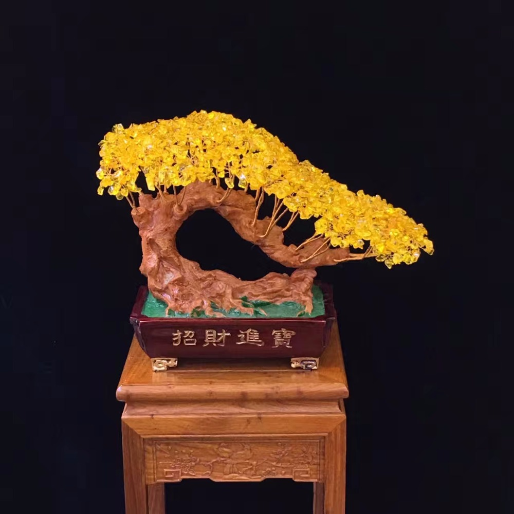 Citrine naturelle arbre de cristal chine Feng Shui ornements pour la décoration
