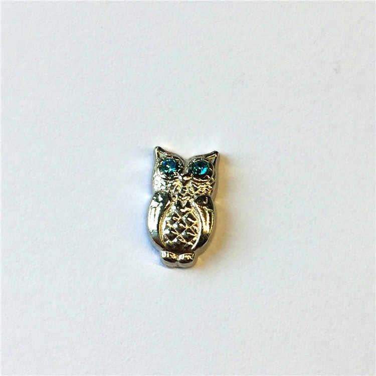 2017 Mới bán buôn 10 cái Men Dễ Thương Owl Đôi Mắt Màu Xanh Nổi Sự Quyến Rũ Phù Hợp Cho Cái Mề Đay, Quà Tặng, Miễn Phí Vận Chuyển