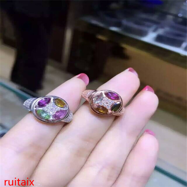 KJJEAXCMY fine jewelry S925 silver inset natural tourmaline 4 gem female ring inlaid to order wholesale.