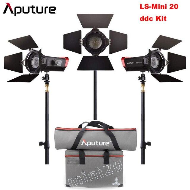 Aputure LS Mini 20 3-Light Kit 2Pcs Mini 20d & 1Pc Mini 20c LED Fresnel Light TLCI CRI 96+ 40000lux@0.5m 3Pcs Light Stand & Case