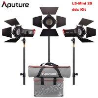 Aputure LS Mini 20 3 Light Kit 2Pcs Mini 20d & 1Pc Mini 20c LED Fresnel Light TLCI CRI 96+ 40000lux@0.5m 3Pcs Light Stand & Case