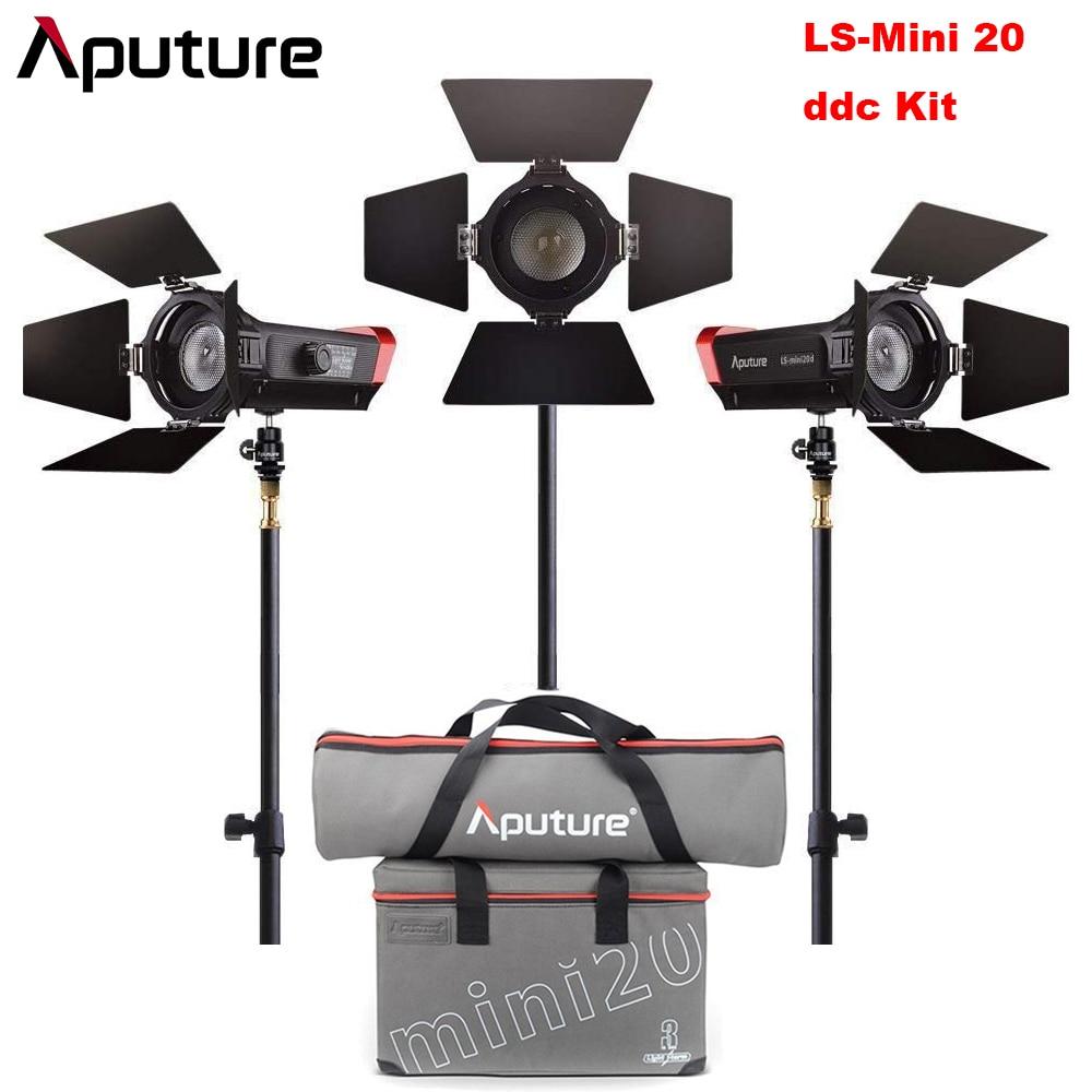 LS Mini 20 3-Kit de Luz Aputure 2 pcs Mini pc Mini 20c 20d & 1 LEVOU Fresnel Luz TLCI CRI 96 + 40000lux@0.5m 3 pcs Luz Suporte & Case
