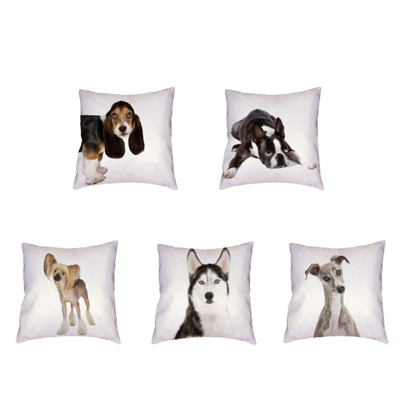 Greyhound Polyester Peach Skin White Cushion Cover Siberian Husky Schnauzer Patterned Car Seat Home Sofa Decoration Pillowcase