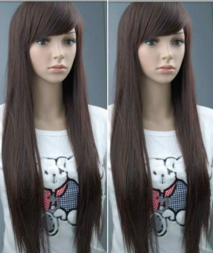 Fashion New long Dark brown straight full wig like Human hair wig 70-75cm fashion dark brown curly high temperature fiber wig for women