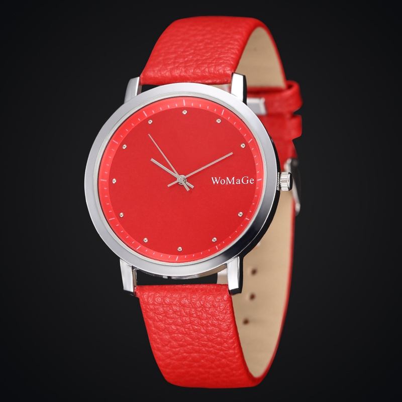 2019 Simple Casual Women Watch Red Leather Band Lady Watches Silver Case Stainless Steel Back Quartz Wristwatch Girls Clock Gift