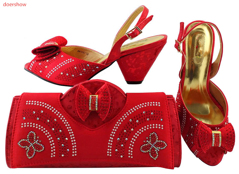 doershow Italian Ladies Shoes and Bag Set Matching Italian Shoe and Bag Set Decorated with Rhinestone Shoes and bags LULU1-30 italian berlitz reference set