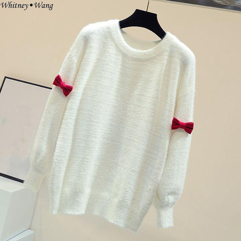 Fiocco Whitney Autunno Wang Delle Femme Grande Di Cachemire Donne Streetwear Ragazze 2018 Modo Dolce Inverno Pull Maglione Visone rBzxr