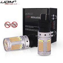 IJDM No Hyper Flash, 21W 3157 LED Canbus P27/5W P27/7W LED, bouton poussoir blanc/ambre ampoule LED pour course de jour et clignotant