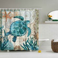 Urijk Sea Turtle Print Waterproof Shower Curtain Polyester Fabric Bath Curtain Octopus Home Bathroom Curtains with 12 Hooks(China)