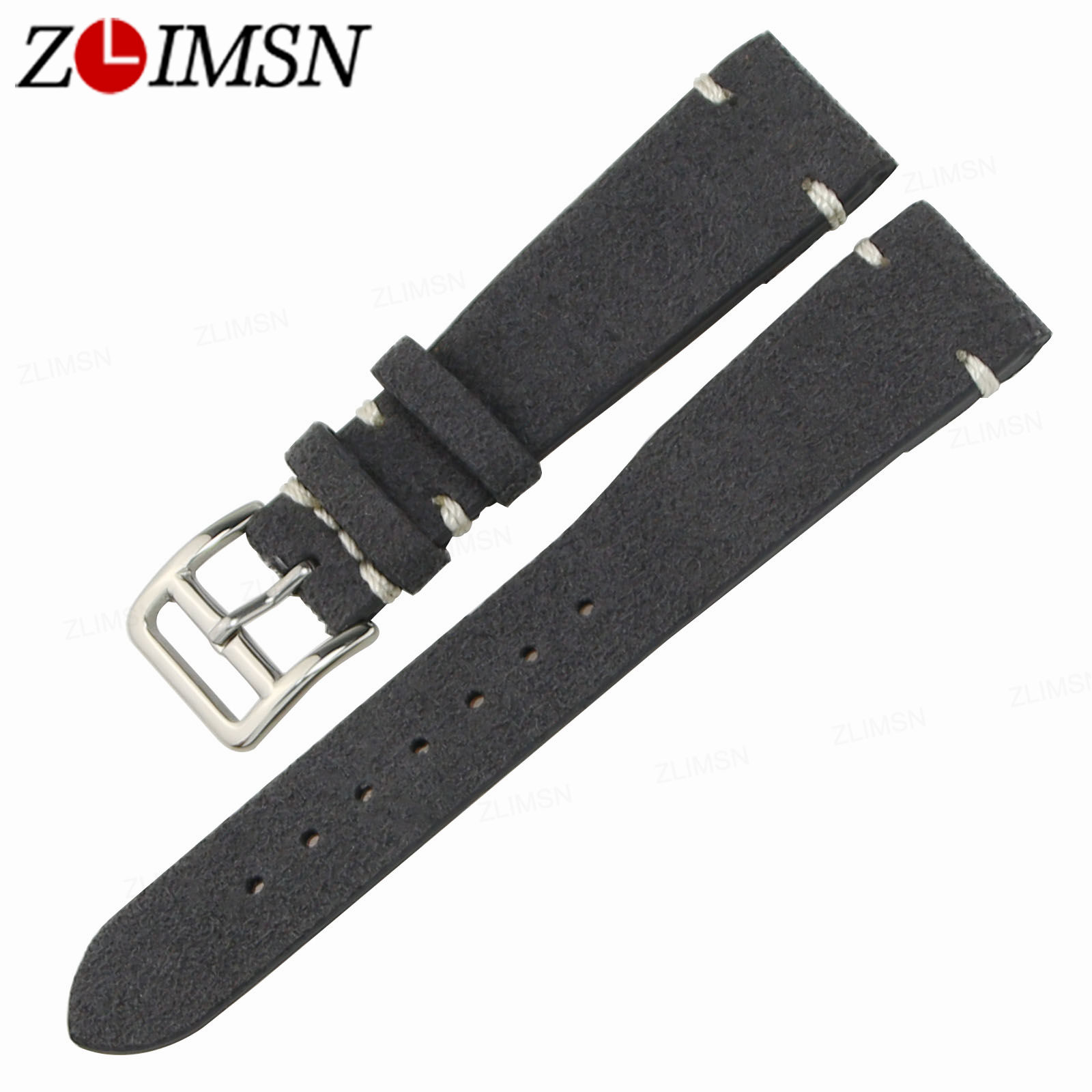 ZLIMSN Men Female Genuine Leather Watch Bands Replacement 20mm Watchbands Brown Black Yellow Grey Silver Stainless Steel Buckle zlimsn alligator leather watch bands strap watches accessories 20 22mm black brown genuine leather watchbands butterfly buckle