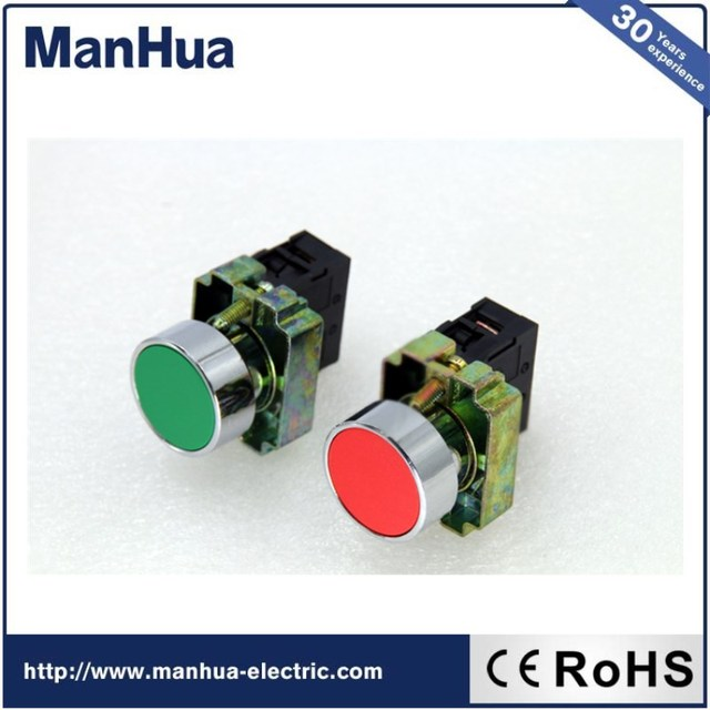 Manhua Hot Product 220VAC Flush Red and Green Push Button Switch IP65 Mini Annular Switch XB2 16A Smart Home for Home and Garden