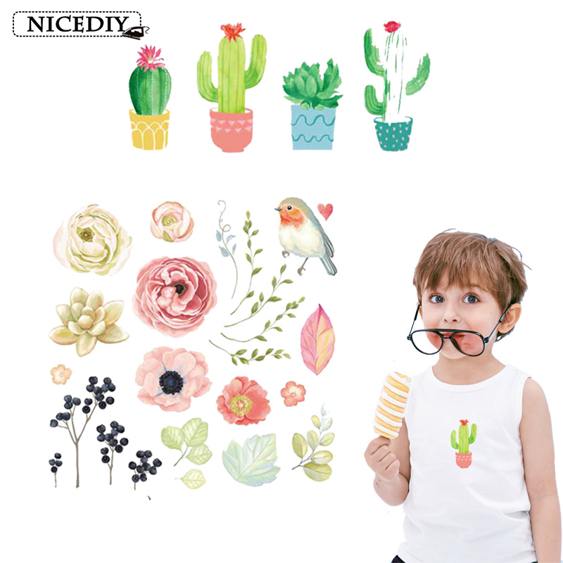 Nicediy Cute Cactus Flower Patch Iron On Transfers For Clothes Cartoon Heat Thermal Patches Kids Washable Applique