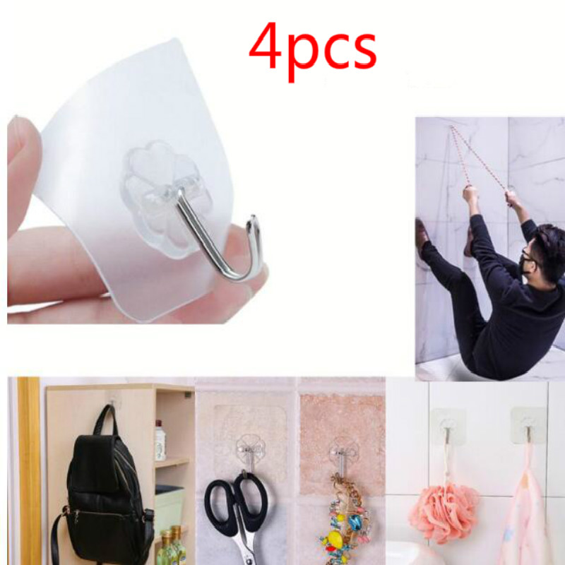 4PCs/set Transparent Strong Self-adhesive Door Hangers Wall Towel Mop Hand Bag Hooks For Hanging Kitchen Bathroom Accessories