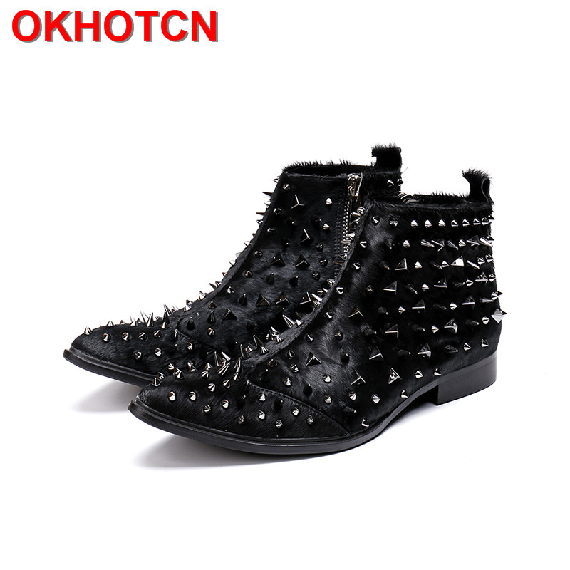 Horsehair Boots Men Plus Size Ankle Boots Fur Pointed Toe Genuine Leather Mens Boots Spring Autumn Solid Botas Hombre Rivets Zip buvazik ankle boots men wew autumn pointed toe mens boots leather breathable high top shoes outdoor casual men botas hombre
