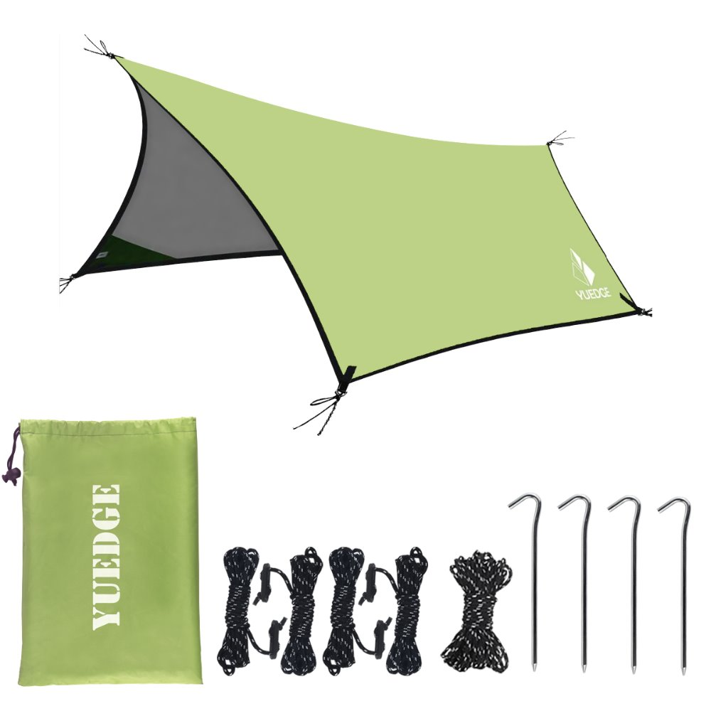 YUEDGE Brand 10x13 Ft Portable Tent Tarp Rain Tarps Shelter Sunshade with Rope and Stakes For Hiking,Backpacking & Travel