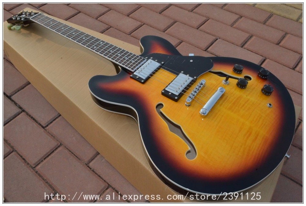 Wholesale - New Arrival Semi Hollow 3 tone Sunburst 335 Classic Jazz Guitar OEM From China free shipping new arrival electrics guitar 12 strings cherry sunburst semi hollow maple body for sale