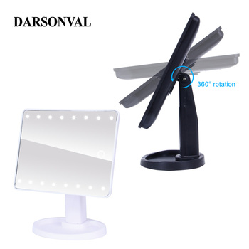 LED Professional Lighted Mirror With Light for makeup Adjustable Light 16/22 Touch Screen Table make-up led mirror Eyelash Brush 4