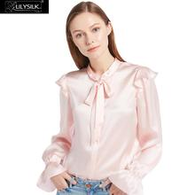 LILYSILK 22mm Vintage Poet Sleeve Silk Shirts 100% Charmeuse Silk Glossy Sophisticated Knitting NEWS Free Shipping