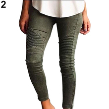 Women Fashion Casual Solid Color Pleat Pencil Slim Leggings Trousers Elastic Pants
