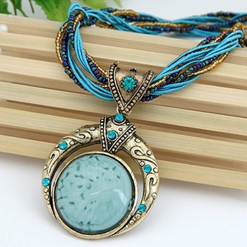 F&U Vintage Necklace Jewelry Fashion Popular Retro Bohemia Style Multilayer Beads Chain Crystal Grain Pendant Necklace 1