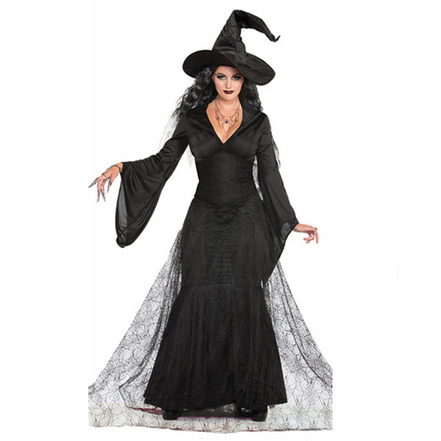 Women Sexy Renaissance Spider Witch Costume Black Dress Cosplay Party Fancy  Dress for Adult Female Halloween Costumes 46d821aa3f58