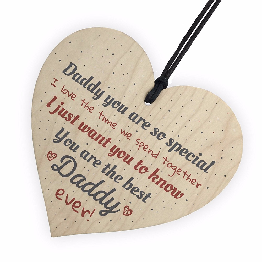 Best Daddy Ever Fathers Day Dad Gift Wood Heart Sign Crafts Thank You Gift From Daughter Son Christmas Costume DIY Tree Decor